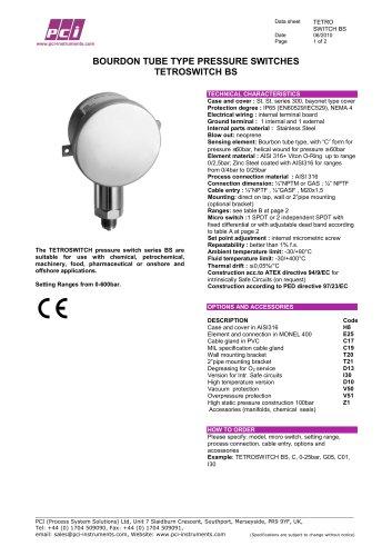Bourdon Tube Type Pressure Switch TETROSWITCH BS