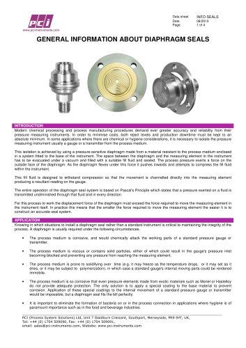 Diaphragm Seals - General Information