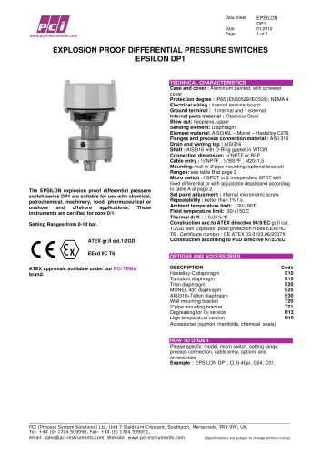 Explosion Proof Differential Pressure Switches EPSILON DP1