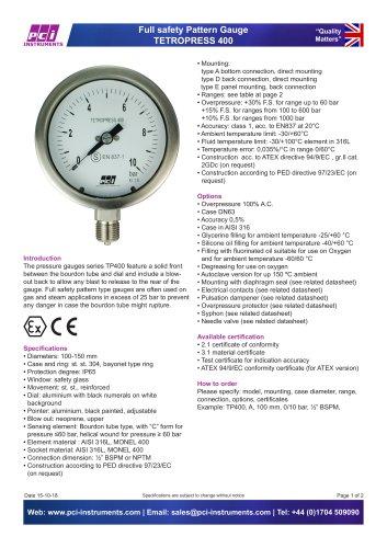 Full Safety Pattern Gauge TETROPRESS 400