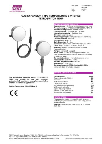 Gas Expansion Type Temperature Switch TETROSWITCH TEMP