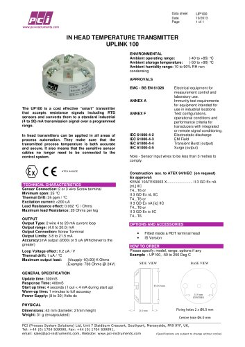 In Head Temperature Transmitter UP100