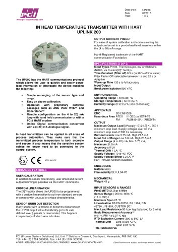 In Head Temperature Transmitter with HART UP200