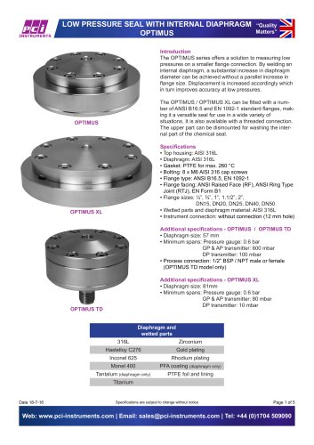 Low Pressure Seal with Internal Diaphragm OPTIMUS