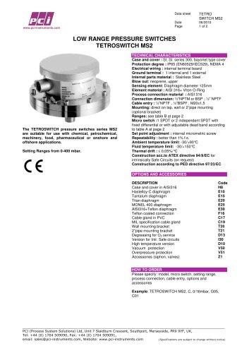 Low Range Pressure Switch TETROSWITCH MS2