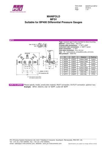Manifold 5 valve to suit BP400 MF5V