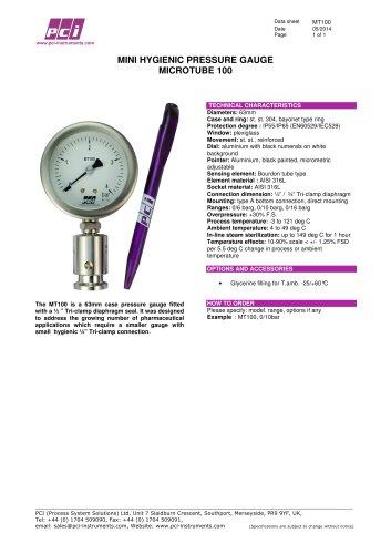 Mini Hygienic Pressure Gauge MT100