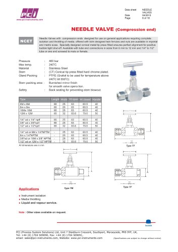 Needle Valve (Compression end) NCET, NCEB, NCED