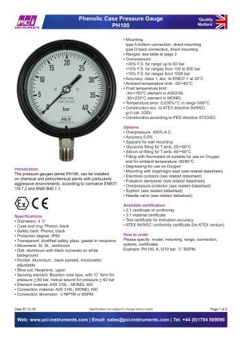 Phenolic Case Pressure Gauge PH100