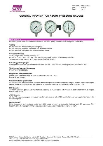 Pressure Gauges - General Information