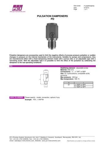 Pulsation Dampener PD