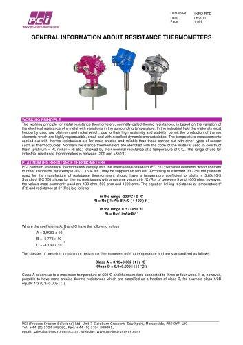 RTD PT100 - General Information