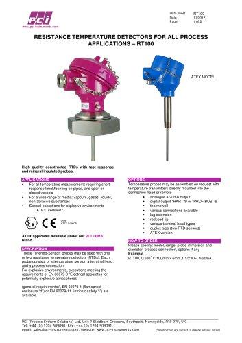 RTD (Resistance Thermometer Detector) with PT100 sensor