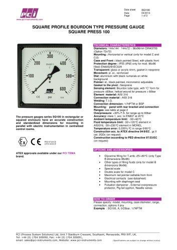 Square Profile Pressure Gauge SQ100