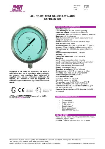 Test Gauge 0.25% acc EP100 (Express 100)