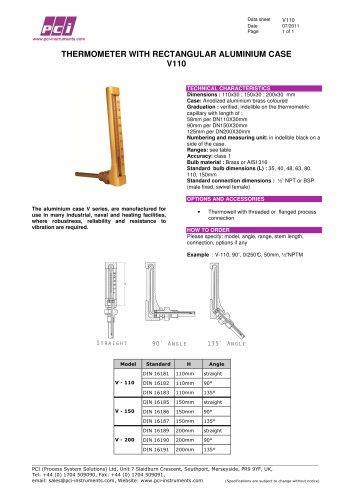 Thermometer with Rectangular Aluminium Case