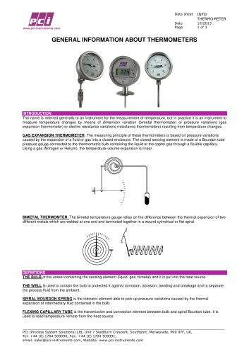 Thermometers - General Information