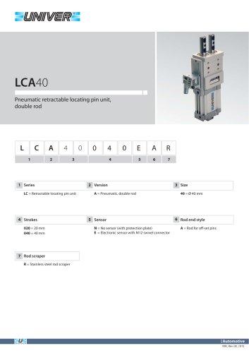 LCA40_Pneumatic retractable locating pin unit, double rod