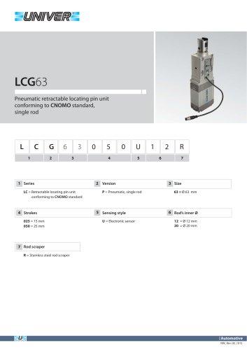 LCG63_Pneumatic retractable locating pin unit conforming to CNOMO standard, single rod
