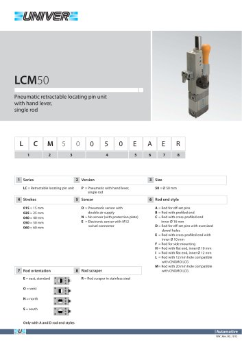 LCM50_Pneumatic retractable locating pin unit with hand lever,  single rod