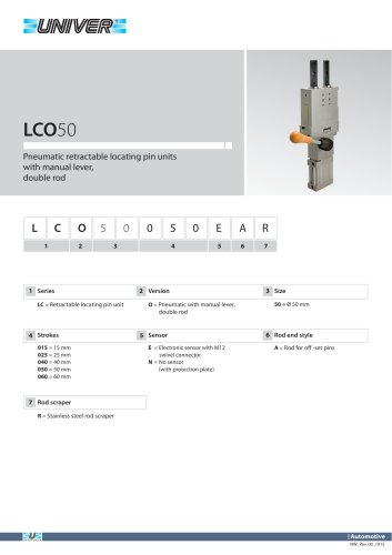 LCO50_Pneumatic retractable locating pin units with manual lever, double rod