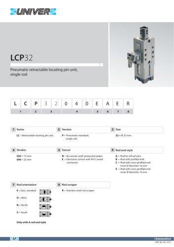LCP32_Pneumatic retractable locating pin unit, single rod