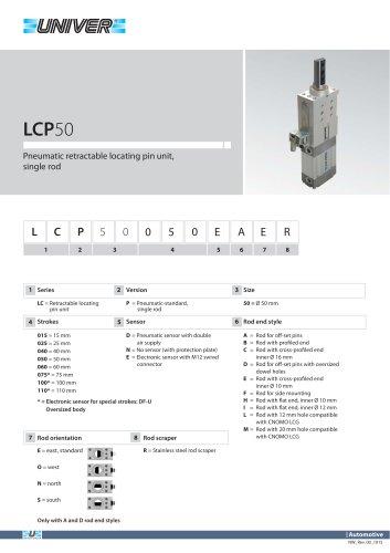 LCP50_Pneumatic retractable locating pin unit, single rod