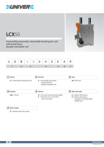 LCX50_Irreversible pneumatic retractable locating pin unit with hand lever,  double orientable rod