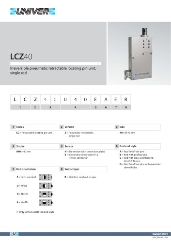 LCZ40_Irreversible pneumatic retractable locating pin unit, single rod
