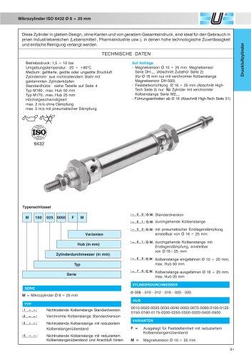 Mikrozylinder ISO 6432 Ø 8 ÷ 25 mm