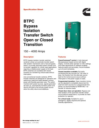 BTPC Bypass Isolation Transfer Switch Open or Closed Transition