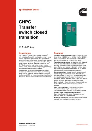 CHPC Transfer switch closed transition