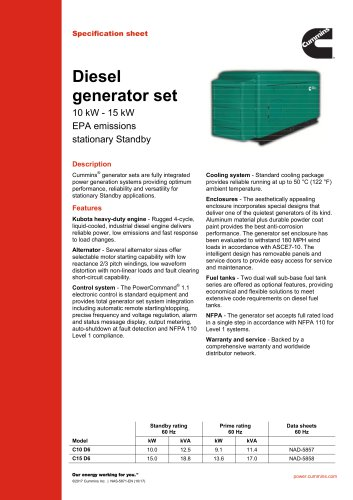 Diesel generator set 10 kW - 15 kW EPA emissions stationary Standby
