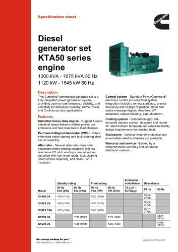 Diesel generator set KTA50 series engine