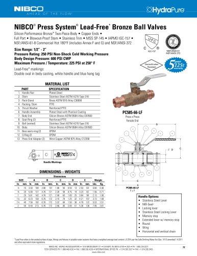 NIBCO ® Press System ® Lead-Free * Bronze Ball Valves