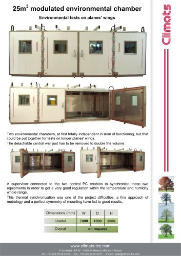 25m3  modulated environmental chamber