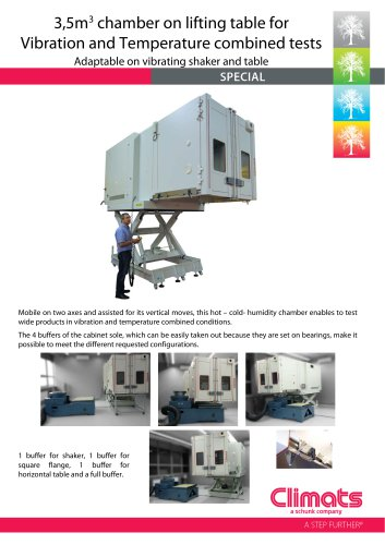 3,5m3 chamber on lifting table for Vibration and Temperature combined tests