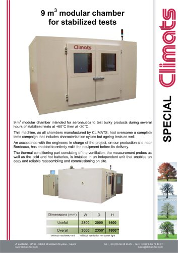 9 m3  modular chamber for stabilized tests