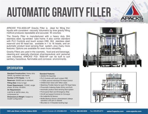 Automatic Gravity Filling Machine