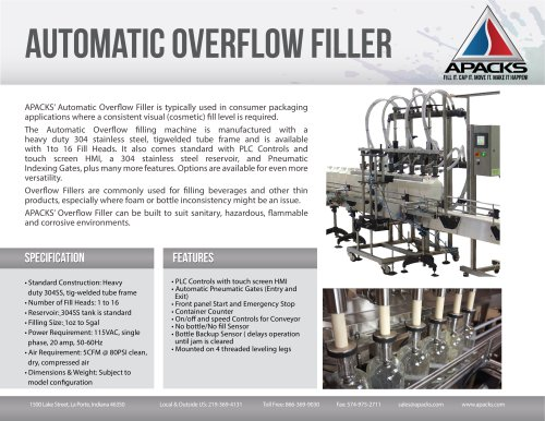 Automatic Pressure Overflow Filler