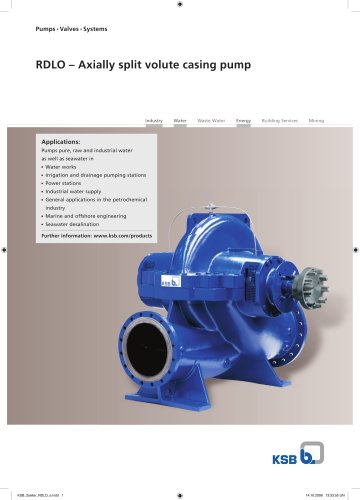 RDLO – Axially split volute casing pump