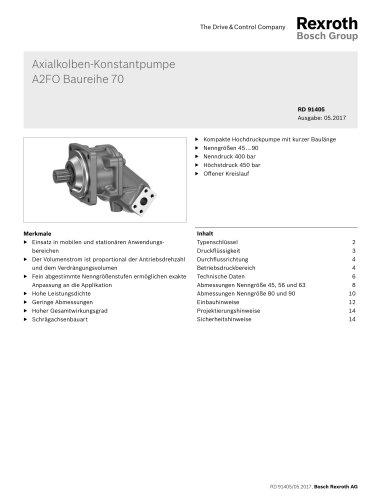 Axialkolben-KonstantpumpeA2FO Baureihe 70
