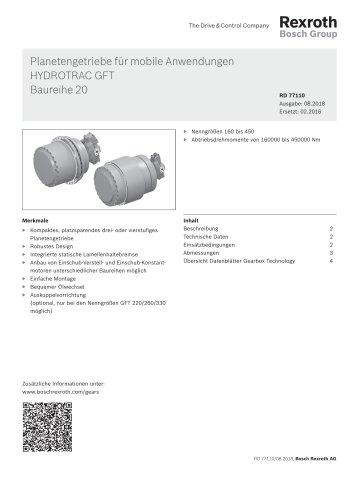 Planetengetriebe für mobile Anwendungen HYDROTRAC GFT Baureihe 20
