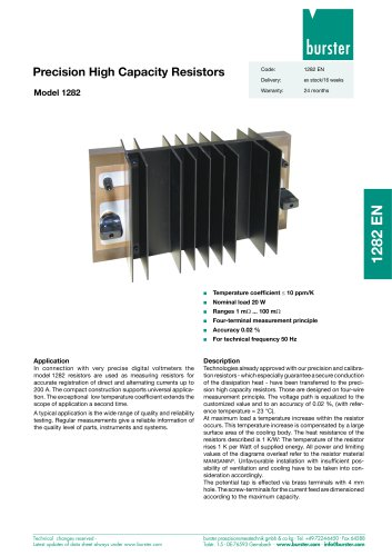 Data-sheet - Precision High Capacity Resistors Model 1282