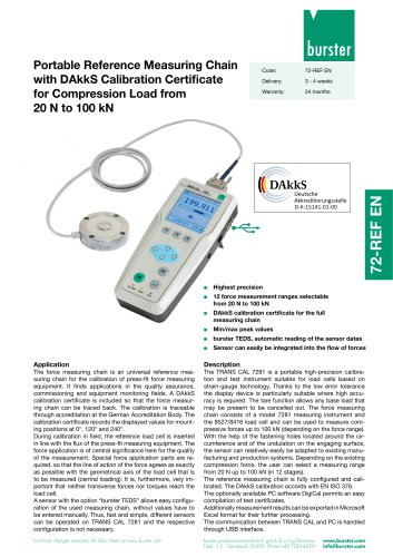 Portable Reference Measuring Chain with DAkkS Calibration Certificate