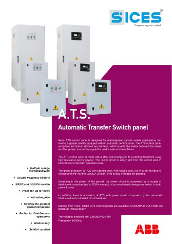 ATS Panel for single stand-by genset