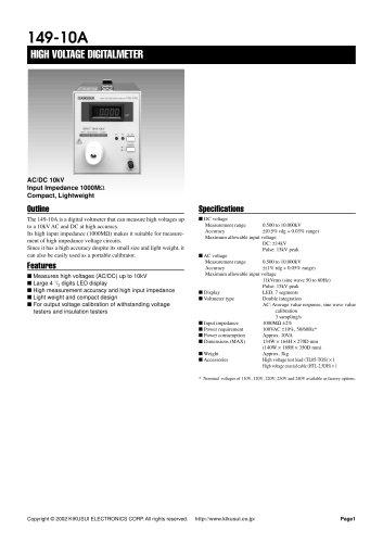 149-10A High Voltage Digital Voltmeter (AC/DC 10kV)
