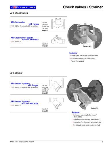 ARI-Check valve Metallic sealing (ISO-units)