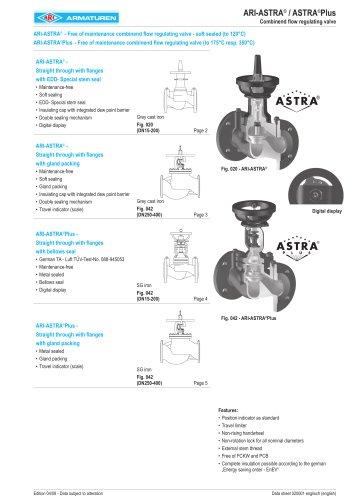 Free of maintenance combinend flow regulating valve - soft sealed