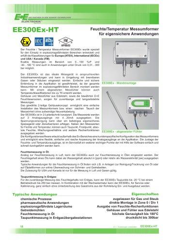 EE300EX-HT - Feuchte/Temperatur Messumformer für eigensichere Anwendungen